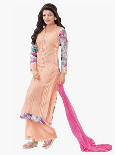 Kajal Aggarwal Peach Georgette Palazzo Style Suit 87854