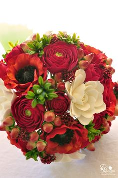 DK Designs: Stunning Red and White Bouquet for a Military Couple