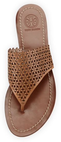 Tory Burch daisy-perforated leather thong sandal