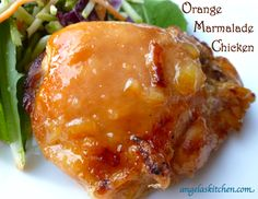 Orange Marmalade Chicken Ingredients 2 pounds boneless skinless chicken thighs ½ cup orange marmalade ¼ cup honey 1 tablespoon gluten free soy sauce 1 cloves minced garlic 1 teaspoon minced fresh ginger salt and pepper to taste. Let marinade at least 2 hours before baking.