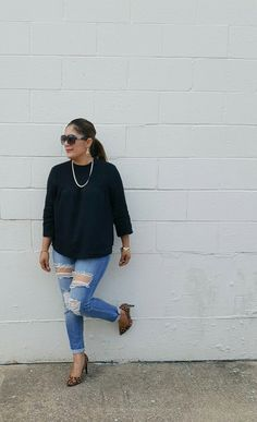 Distressed denim, black top & leopard print pumps  #streetfashion #streetstyle
