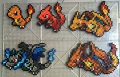 #004-#006 Charmander Family Perlers by TehMorrison