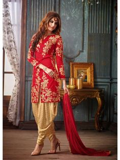 Red Colour Banarasi Silk Patiala Style Suit