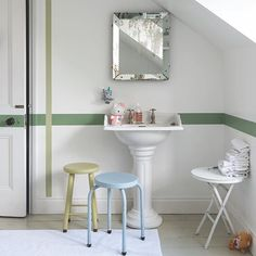 Add interest around the home with colour. Here we've finished the bathroom in #AllWhite and then applied a horizontal band of #CalkeGreen and a vertical line of #CookingAppleGreen, which creates a fun feature in this family bathroom. #farrowandball #decor #decorinspiration #decorate #decorating #decoration #instadecor #instahome #bathroom #bathroomdecor