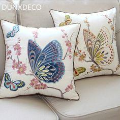 DUNXDECO Modern Country Flower Butterfly Emboridery Linen Cotton Cushion Cover Decorative Cushion So Cheap Pillows, Diy Pillows, Throw Pillows, Bed Cover Design, Cushion Cover Designs, Cushion Embroidery, Crewel Embroidery, Couch Cushion Covers, Cushions On Sofa