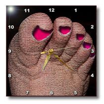3dRose - Jos Fauxtographee Realistic - A Foot Textured with Toenails Painted Pink and Sunk In - Wall Clocks