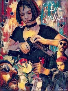 Leon and Mathilda Art Print, inspired by the Professional, inch Stretched or Rolled Canvas Art Prints, Paper Prints, Leon Painting Movie Poster Art, Film Posters, Pulp Fiction, Professional Wallpaper, Leon The Professional Mathilda, Leon Matilda, Mathilda Lando, Jean Reno, Alternative Movie Posters