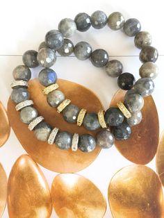 Set Of 2 Natural Blue Flash Labradorite Micro Pave Bracelet