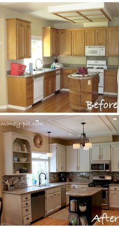 modernizing an 80 s oak kitchen, home decor, kitchen backsplashes, kitchen cabinets, kitchen design, kitchen islands, By removing the doors on the cabinet backing it with beadboard wallpaper and trimming out the corners with shelf brackets there is now more open display space and the cabinetry feels a little more custom