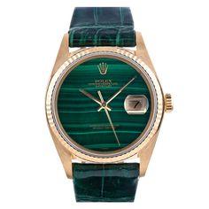 ROLEX Yellow Gold Malachite Dial Datejust Wristwatch circa 1970s