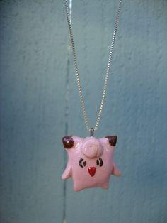 Pokemon Necklace- Clefairy Polymer Clay Charm via Etsy
