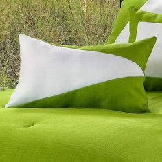 Victor Mill Latitude Green White Oblong Pillow 12 x 16 | FREE SHIPPING