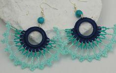 Crochet earrings - Large crochet earrings - Crochet earring jewelry - Turquoise,blue,mint color - Fan style