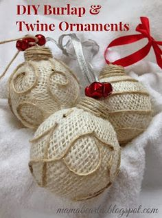 Musings of a Mama Bear: DIY Burlap & Twine Ornaments