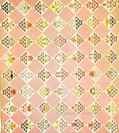 Pieced & Embroidered Quilt Album Basket 1860 Pennsylvania
