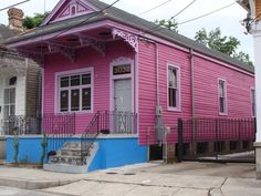 Brightly painted shotgun house in New Orleans, Louisiana.