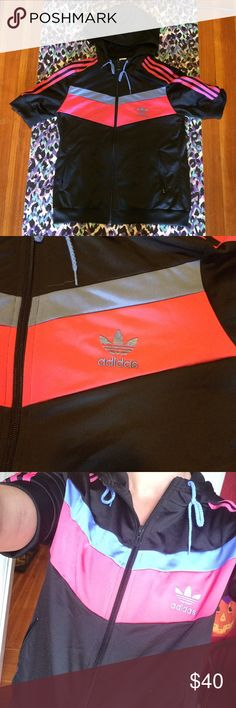 Adidas track jacket Adidas track jacket - short sleeves , zip front and hood. Sporty Spice ! Excellent condition- size medium but will fit a small as well Adidas Jackets & Coats
