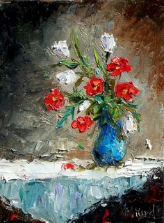 Flowers In Vase. Debra Hurd  Love painting style. Experiment with tools to create this effect. wipe paint on with knife