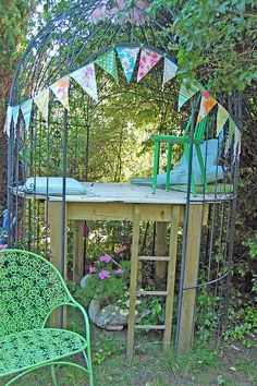 elevated backyard stage + bunting