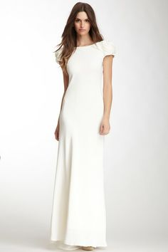 A.B.S. by Allen Schwartz Rosette Shoulder Open Back Dress by White: Sleek & Chic on @HauteLook