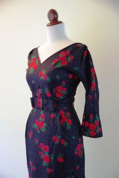 Vintage 1950s Black and Red Silk Floral by RetroKittenVintage, $75.00