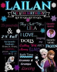 Frozen Chalkboard Birthday Poster Wall Art by NaVellaPartyBoutique