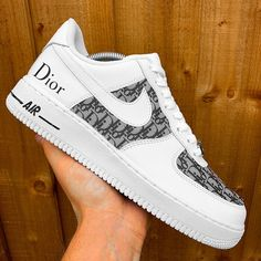 ⚡️ Nike Air Force 1 Dior Monogram ⚡️ Finest cut Dior material cemented onto a pair of Air Force 1s 100% durable and waterproof Please treat with care Available in all sizes For any concerns or queries, DM us on instagram @matejkocustoms Gray Nike Shoes, Cute Nike Shoes, Nike Air Shoes, Dior Sneakers, Cute Sneakers, Sneakers Fashion, Jordan Shoes Girls, Girls Shoes, Air Force One Shoes