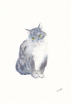 Soft Grey White Lovely Kitty Cat Art Print by littlecatdraw, $7.00