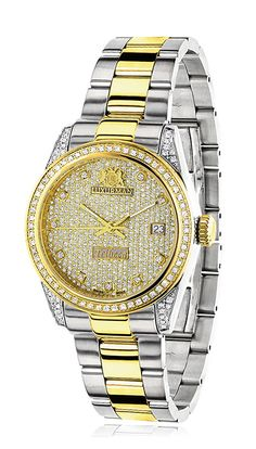 WOMENS WHITE YELLOW GOLD PLTD DIAMOND WATCH TWO TONE LUXURMAN TRIBECA 1.5CT