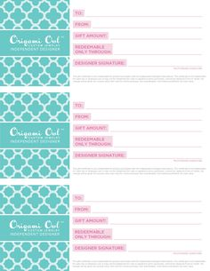 origami Owl gift certificates available. Must be used with the designer that you bought them from.   Great gifts. owlpartiesareahoot@gmail.com Www.facebook.com/owlpartiesareahoot