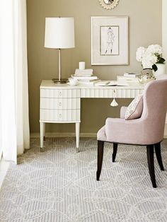 Workspace. Beauteous Feminine Home Office Decors. Vintage Girl Office Concept With White Table Lamp And Feminine Home Office Decors And White Office Desk