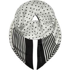STELLA MCCARTNEY Polka dot & striped silk scarf ($415) ❤ liked on Polyvore featuring accessories, scarves, pure silk scarves, patterned scarves, polka dot scarves, striped shawl and silk shawl