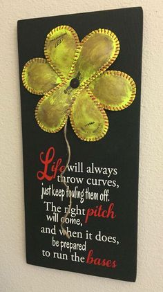 Softball - Life Will Always Throw Curves, Baseball/Softball Sign Decor, Inspirational Quote, Baseball Softball Flower Yellow… Softball Crafts, Softball Mom, Softball Players, Fastpitch Softball, Softball Stuff, Softball Things, Softball Wreath, Softball Decorations, Girls Lacrosse