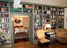 love the color of the bookshelves!