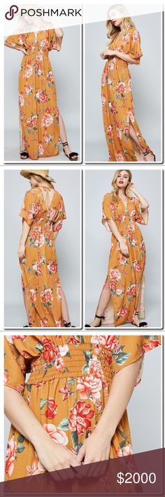 COMING SOON Flower Print Maxi Description: A flower print maxi dress featuring an allover floral print, a plunging-neckline, short kimono sleeves, self-tie straps at back, side slits and smocked waist. This dress is made with medium weight fabric that has very soft, drapes well.  Category: Dresses  Fabric: 100% Polyester  Content: Polyester Dresses Maxi