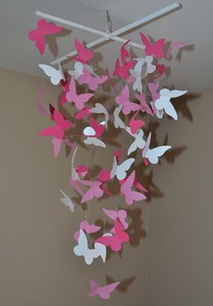 Pink Butterfly Mobile, Girls Room Decor,Party Decor