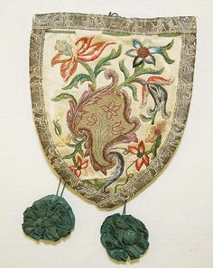 18th century, France - Purse - Silk, linen, metal