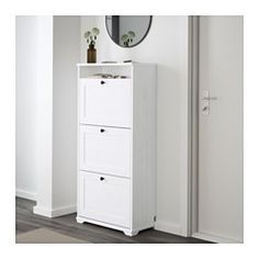 IKEA - BRUSALI, Shoe cabinet with 3 compartments, white, , Helps you organize your shoes and saves floor space at the same time.You can easily adjust the space in the shoe compartments by moving or taking away the dividers.In the shoe cabinet your shoes get the ventilation and the space they need to keep them like new longer.