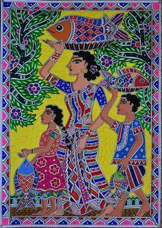 Mother and Children with Fish Madhubani Painting - Barbaraanne Mathewson Madhubani Paintings Peacock, Madhubani Art, Indian Art Paintings, Mother Painting, Family Painting, Phad Painting, Mural Painting, India Painting, Indian Folk Art
