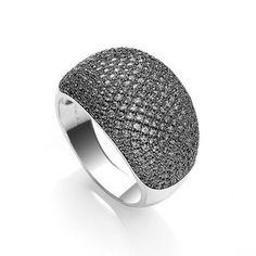 A beautiful yet unusual Black Jewelled Cocktail Ring. www.j-jaz.com