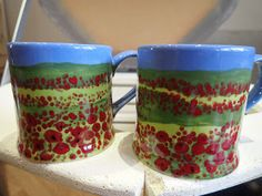 Hand painted ceramics by Pam Smith : Hand painted Mugs with Dorset and Languedoc scenes. Hand Painted Mugs, Hand Painted Ceramics, France, Tableware, Painting, Hand Painted Pottery, Dinnerware, Tablewares, Painting Art