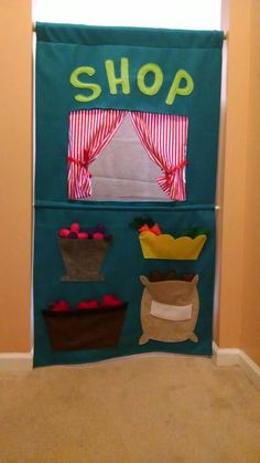 Ready to Ship!!  Dual-Sided Doorway Shop / Puppet Theater by FairyBugsShop on Etsy https://www.etsy.com/listing/226552324/ready-to-ship-dual-sided-doorway-shop