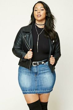 Plus Size Denim Mini Skirt