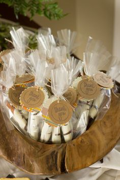 Chocolate covered pretzel favors for a woodland themed baby shower!