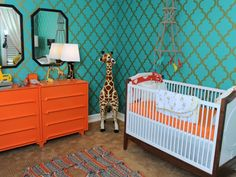 12 Fresh Color Schemes for Gender-Neutral Nurseries: Tangerine and Teal