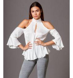 Σατέν Πουκάμισο με Βολάν με Έξω Ώμους  - Λευκό Tops, Women, Fashion, Moda, Women's, Fashion Styles, Woman, Fasion