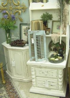 Shabby Chic Distressed White Vintage Furniture... Love it. With so many decorating styles, I wonder why you copy mine!