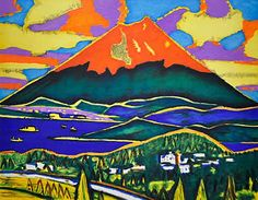 'Red Mt. Fuji' lithograph by Hirosuke TASAKI