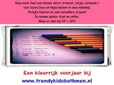 Heel veel nieuwe shirts, broeken, rokjes, bermuda's, shorts etc. in de webshop van www.trendykidsbathmen.nl   De wekelijkse update staat nu online.