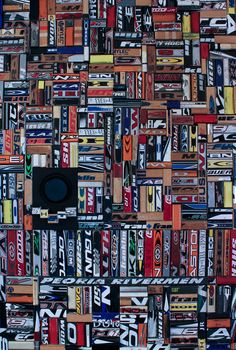 """Shots"" collage created by Cindy Lewis from recycled hockey sticks."